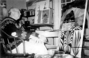 Peter Graham painting in the study at Canterbury 9/7/1983
