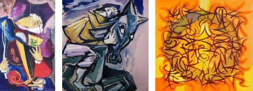 """""""Musician"""" 1950 oil on canvas 75 x 50 cm """"Ghost Story"""" 1951 Water Colour 60 x 50 cm """"Children's Corner Suite"""" (part) 60 x 60 cm oilo on canvas"""