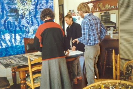 Jan Martin, Philip Graham and Rosalind Hollinrake choosing pictures for the memorial exhibition