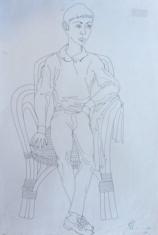 Euan 1986 pen on paper 60 x 40 cm