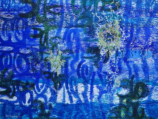 """Glimpses of the Sea"" 1977 acrylic on canvas 200 x 240 cm"