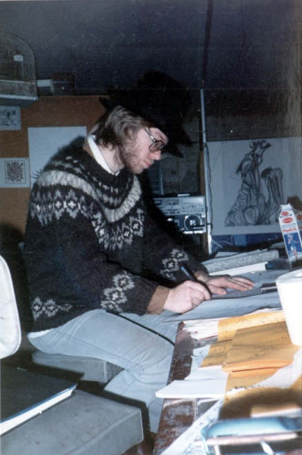 Philip working on the hand book in 1987