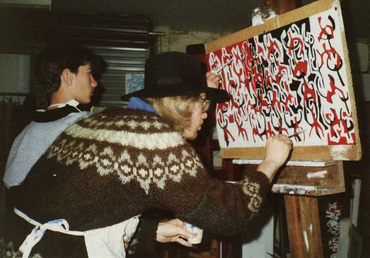 """Philip and I at the easel in 1987 painting """"Dance of Life"""""""