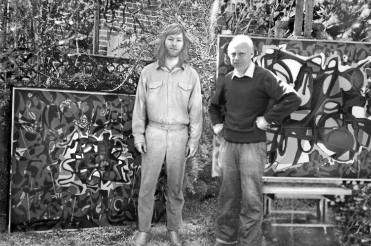 """Philip and our father in front of the newly completed 'Landscape and Still Life"""" November 1986"""