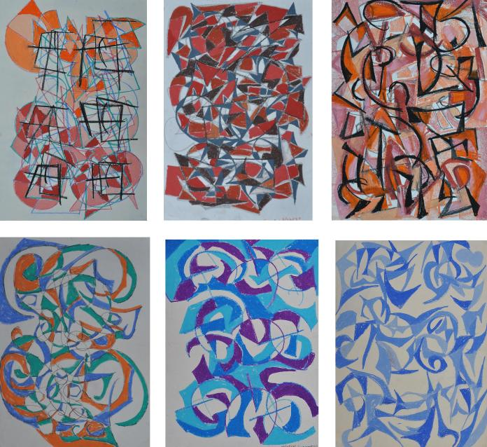 A selection of my oil pastel drawings from 1987