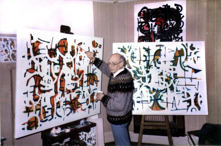 """Peter Graham painting """"Leavings"""" in the study at home in Canterbury April 1986"""