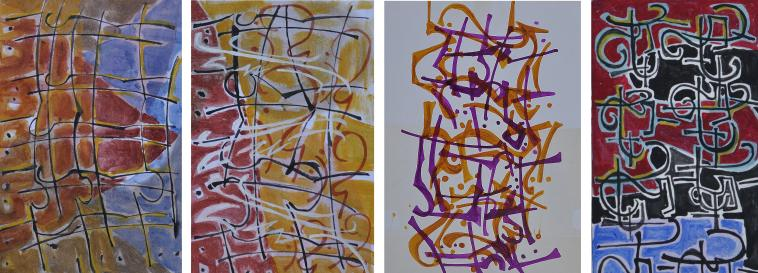 """Early versions of my composition """"construction """" based on the tols and process involved in building the """"Tri-Easel""""."""