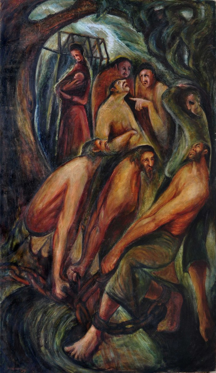 """""""THE CONVICTS"""" PETER GRAHAM 1946 OIL ON CANVAS 240 X 190 CM"""