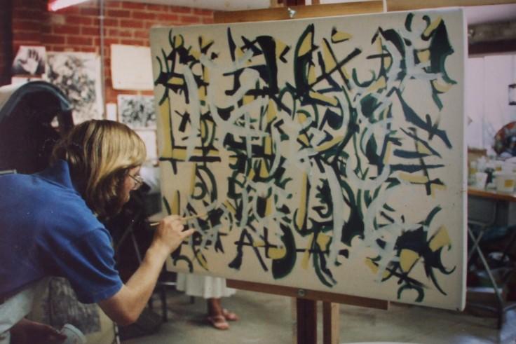 "Philip painting ""Leavings"" in the workshop, February 1988"