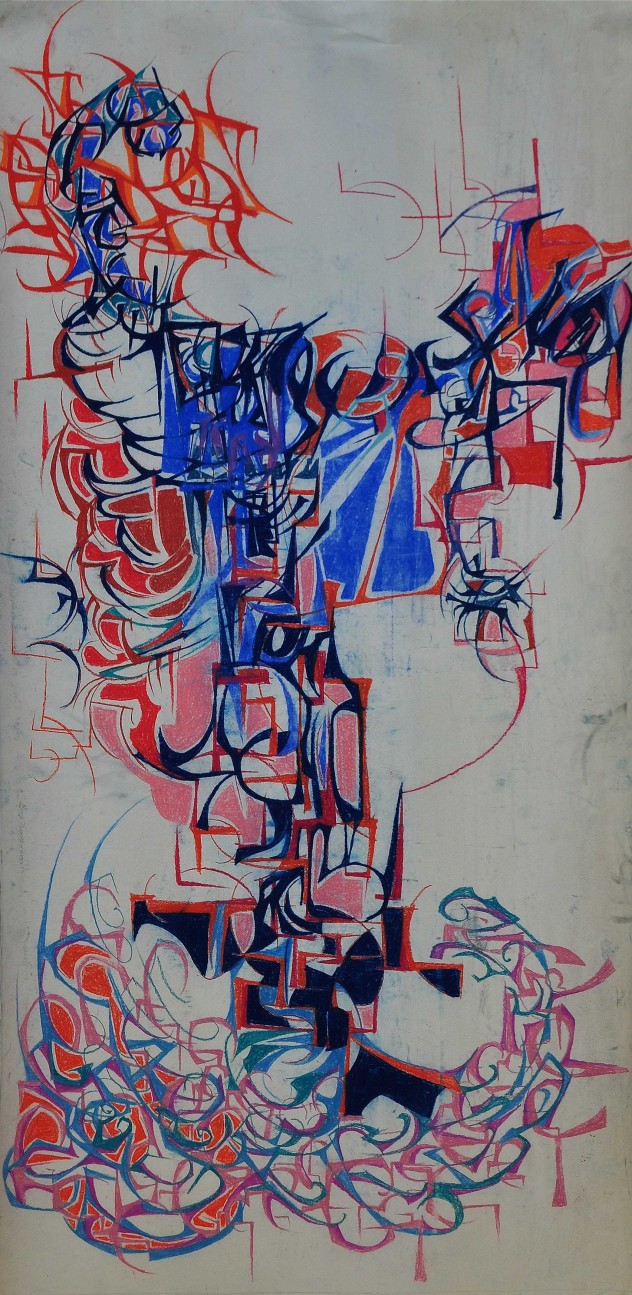 """Cranial Activity"" pastel on paper 1988 150 x 80 cm"
