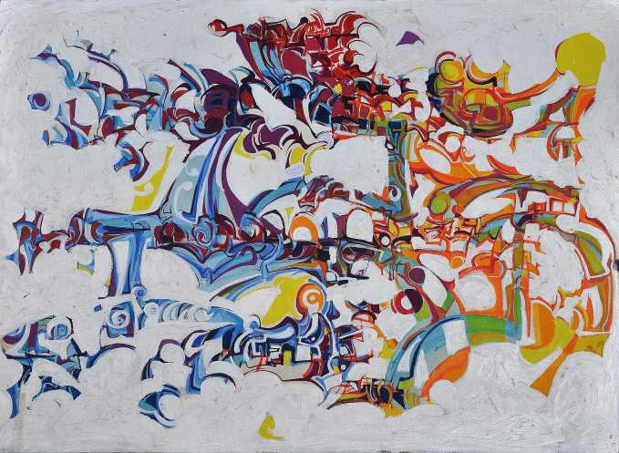"""""""The Red Crescent"""" 1990 acrylic on board 80 x 100 cm Philip and Euan Graham"""