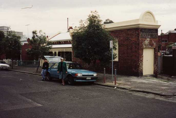 Out the front of Jan Martin's Gallery in North Melbourne. She continued to use the name The Lyttleton Gallery after the street in Castlemaine.