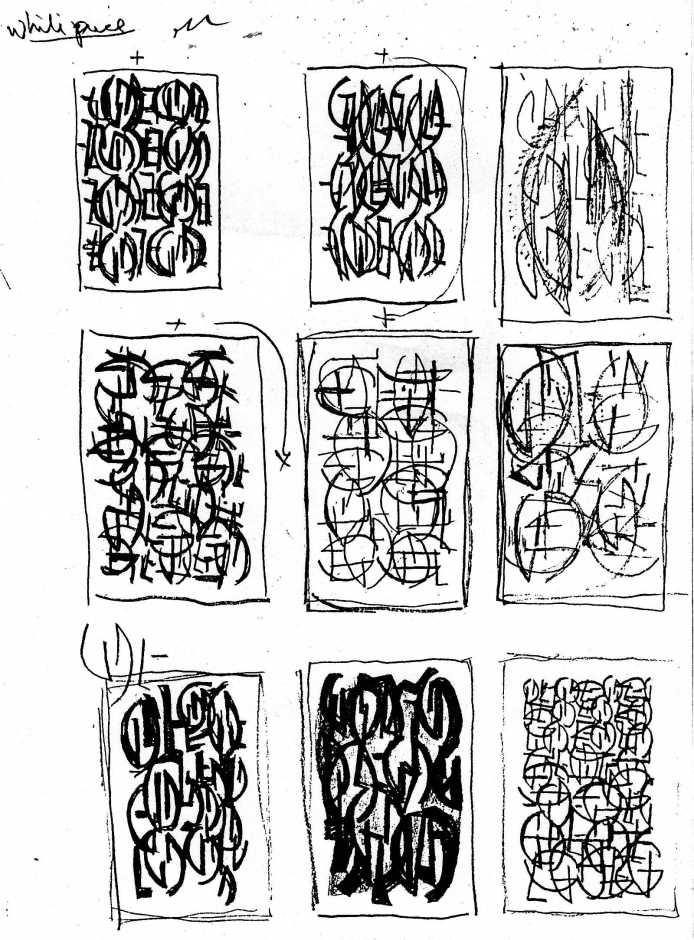 White Piece sketches Peter Graham January 1986