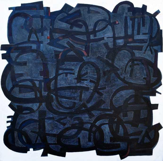 """Black Piece 3"" Peter Graham 1986 oil on canvas 50 x 50 cm"