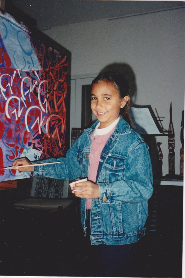 Mayatili Marika painting with us at Jan's Gallery 30.7.1989