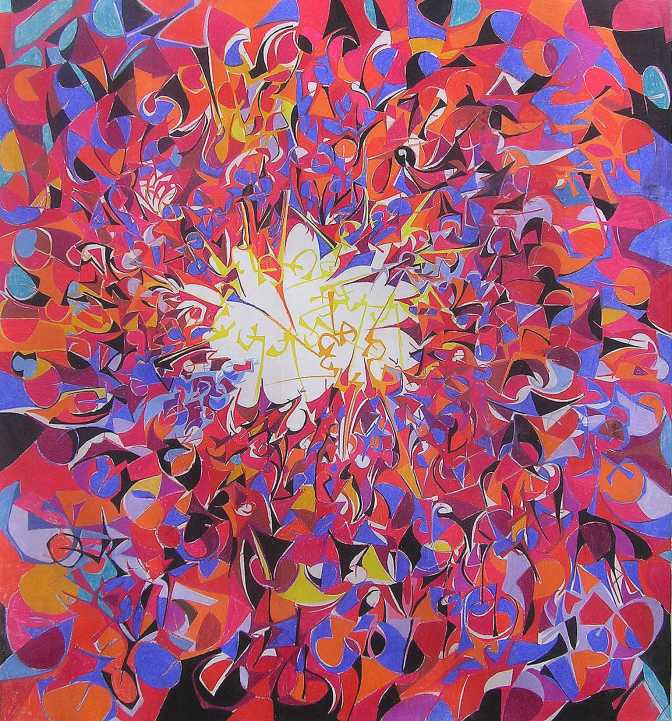 """""""The Total Perspective Vortex"""" 1989 Pastel on paper 90 x 90 cm"""