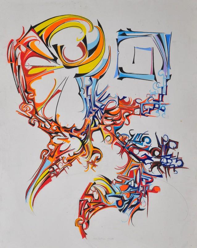 "'wind Sheer"" 1989 Pastel on paper 80 x 60 cm"