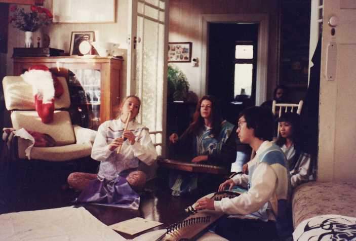 Ros Bandt with her music group interpreting the paintings evolution. 10/6/1990