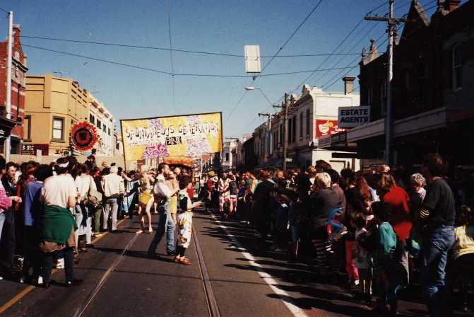 Our Spontaneuos Generation banner in the Melbourne fringe festival parade 8/9/1990