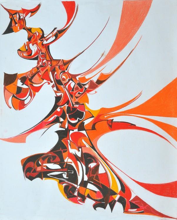 """""""Flight of Fancy"""" 1990 pastel on paper 90 x 70 cm"""