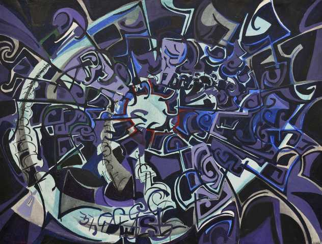 """Midnight Bloom"" 1990 Acrylic on canvas 70 x 90 cm"