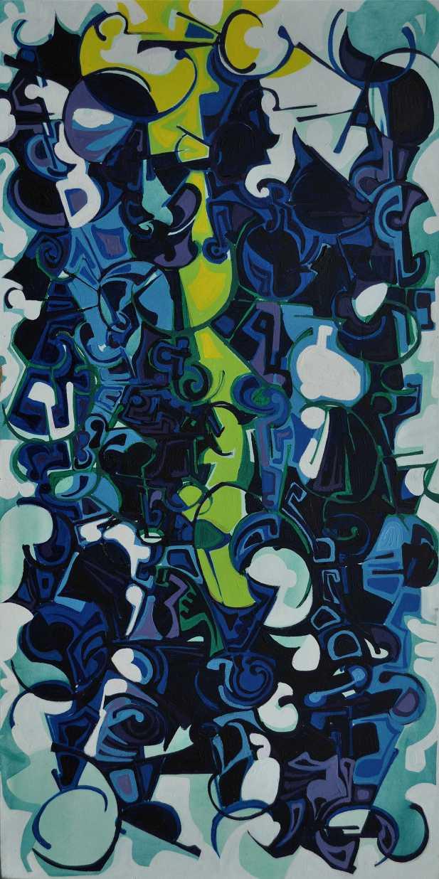 """Summer Lightening"" 1990 Acrylic on canvas 160 x 100 cm"