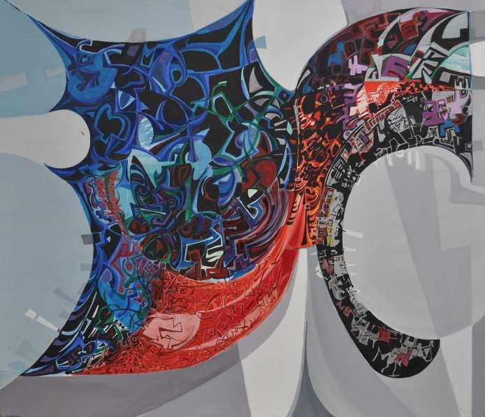 """""""monument"""" 1990 Acrylic on canvas 130 x 160 cm"""