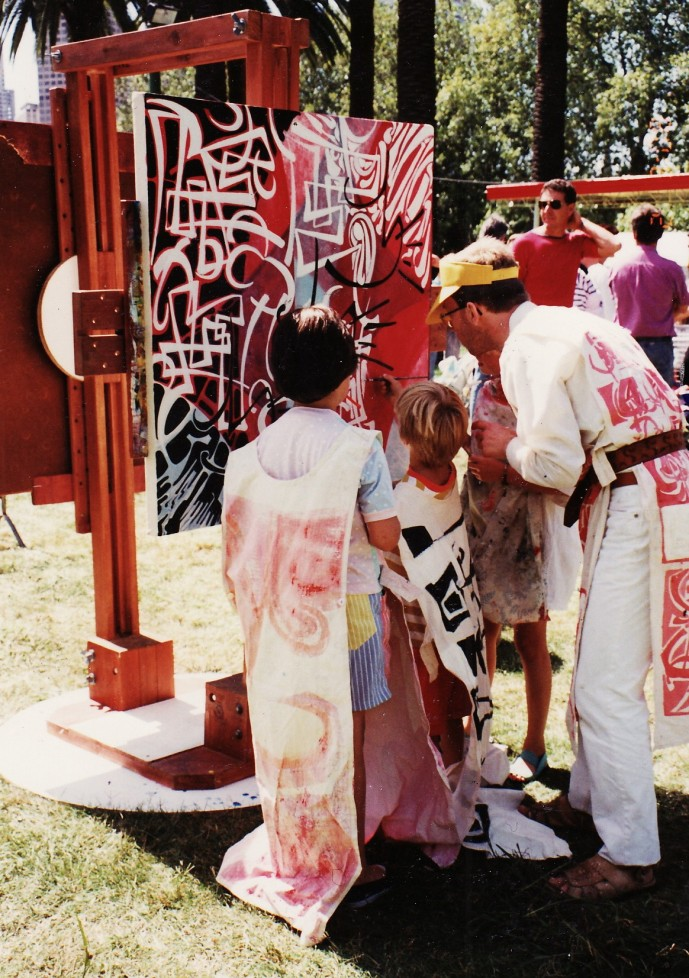 Philip painting with children Moomba 1991