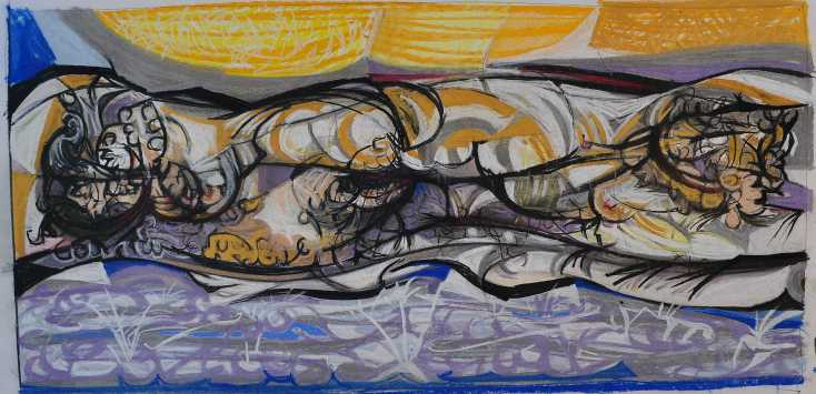 """Reclining Nude"" 1985 Peter Graham Pastel on Paper 40 x 70 cm"