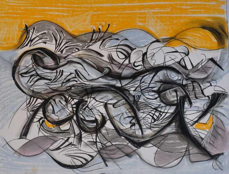 """Reclining Nude"" Philip Graham 1985 Pastel on paper 50 x 60 cm"