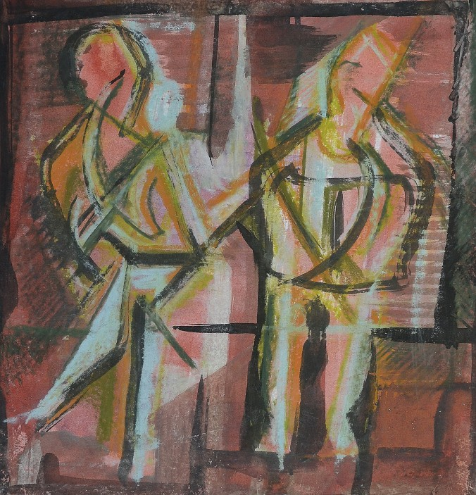 """Waiting for the Train"" 1992 Mixed media on paper 30 x 30 cm"