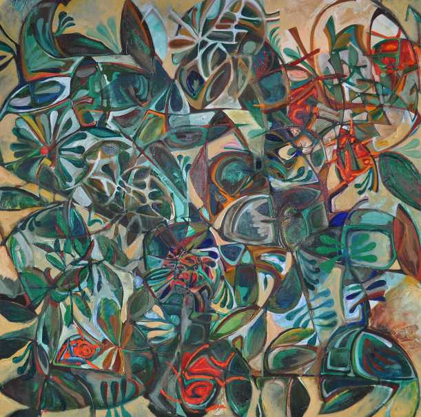 """Summer Garden"" Oil on Canvas Euan Graham December 1991 140 x 140 cm"