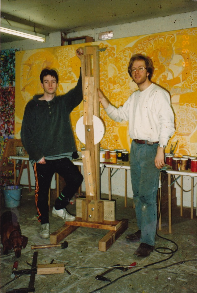 Baden and Philip with newly constructed easel for linear performance.