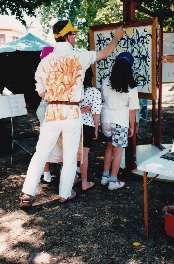Philip painting at the Canterbury Jazz Festival 1993