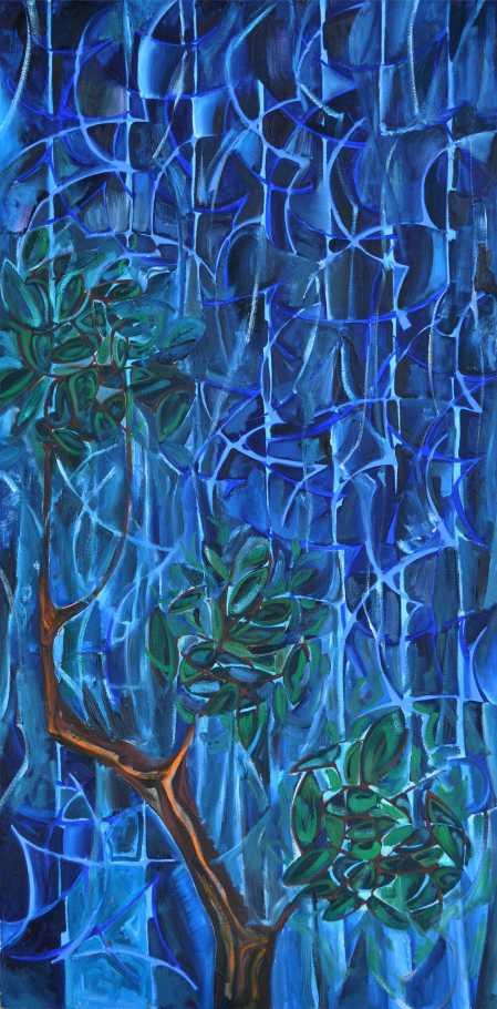 """Gentle Night Rain 1991 Oil on canvas 160 x 100 cm"